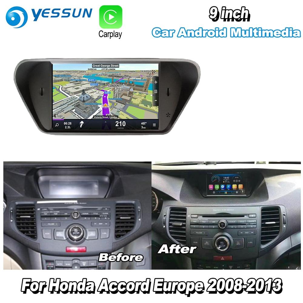 YESSUN pour Honda pour Accord 8 Europe 2008-2013 voiture Android Carplay GPS Navi cartes Navigation lecteur Radio multimédia HD pas de CD DVD
