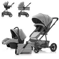детская коляска 3 в 1 коляски детские прогулочная коляска коляски для новых новорожденных толстый Ткань автокресло сумка в комплекте