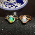 Natural opal gem stone Ring Natural gemstone ring 925 sterling silver trendy Elegant round women's girl gift Jewelry