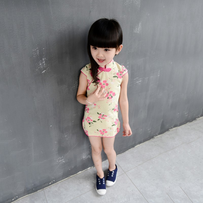 Chinese Girl Dress Children Dress Qipao Chi-Pao Cheongsam Gift Clothes Children Clothing Girl Floral 2018 New Year Newest free shipping new red hot chinese style costume baby kid child girl cheongsam dress qipao ball gown princess girl veil dress