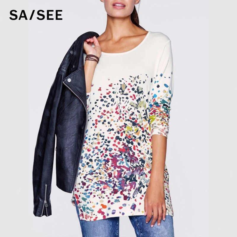 YENI 2019 Sonbahar bahar kadın rahat baskı uzun kollu t gömlek tops & tees artı boyutu gevşek moda tunik Çiçek büyük büyük S-5XL