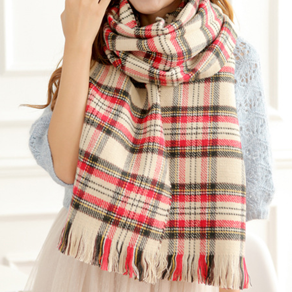 Top Selling Women Double Sided Long Warm Plaid font b Tartan b font Blanket Scarf Wrap