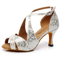 High discount Silver Satin Latin dance shoes Female adult Social dance Square dance dancing High heel sandals Snakeskin Gift S