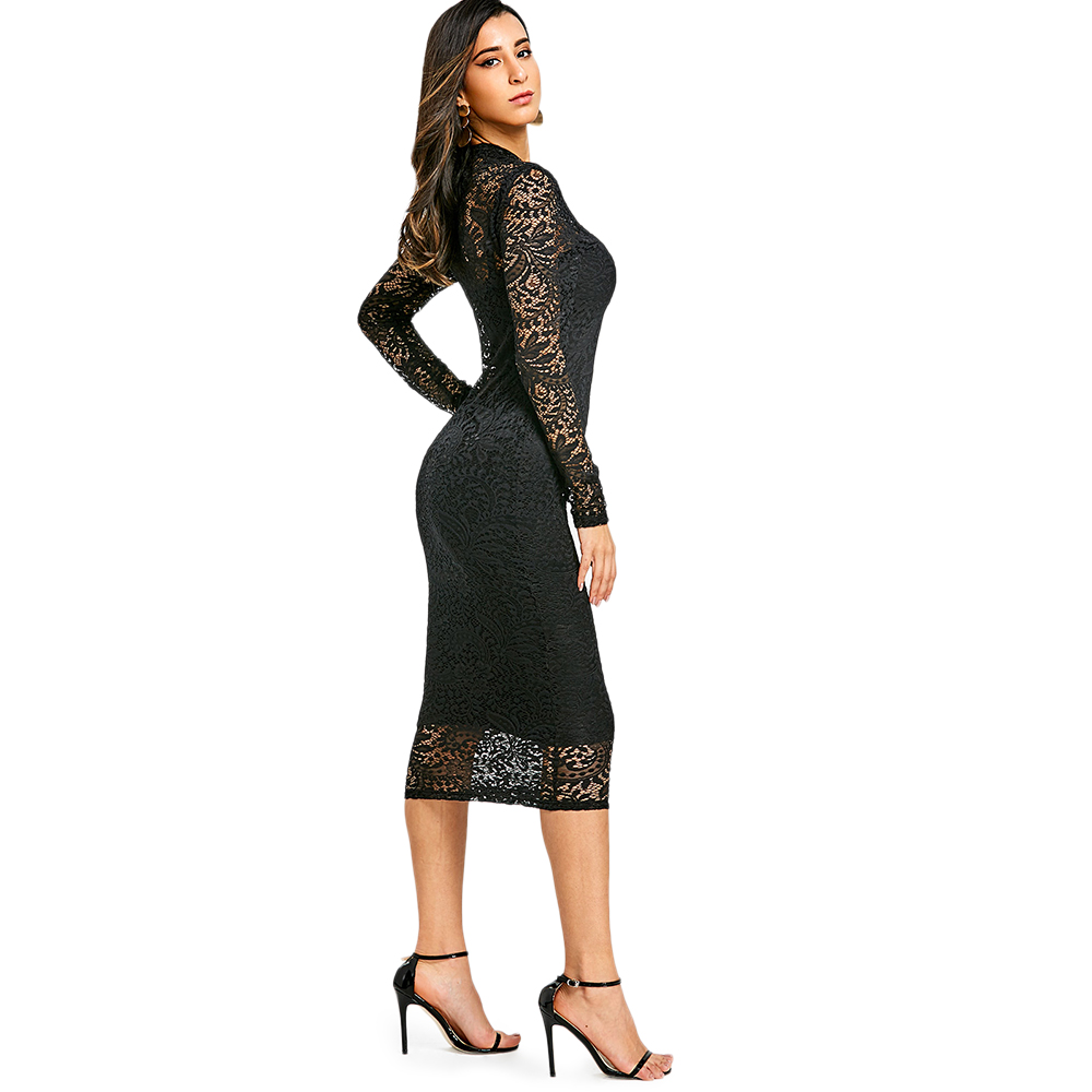 VESTLINDA Lace Midi Bodycon Dress Women Sexy Club Party Dresses Vestidos De  Festa Fashion Black Stand Long Sleeves Robe Femme-in Dresses from Women s  ... 04276ed98d15
