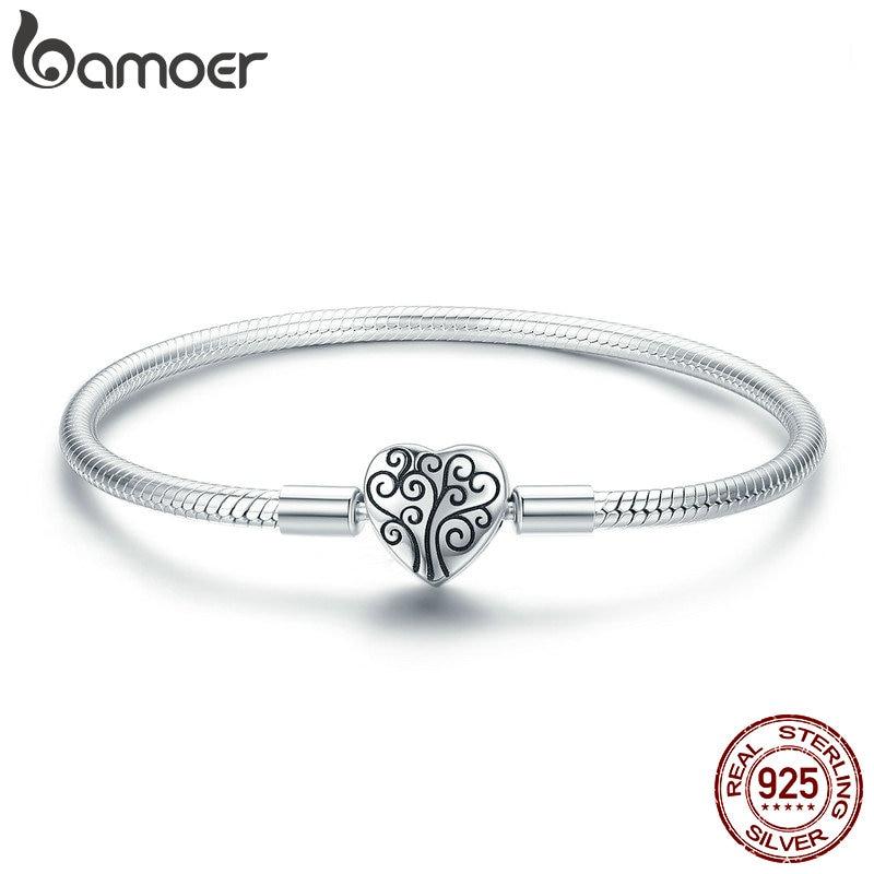 BAMOER 100% 925 Sterling Silver Spring Arbre de Vie Coeur Forme Fermoir Serpent Chaîne Bracelet En Argent Sterling Bijoux S925 SCB066