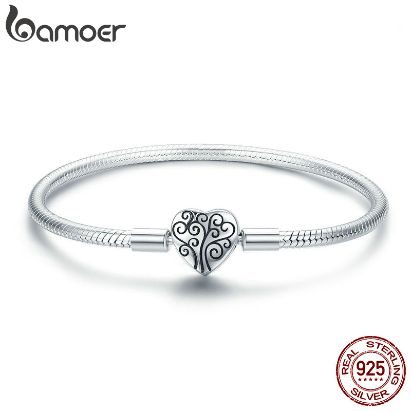 BAMOER 100% 925 Sterling Silver Spring Tree of Life Heart Shape Clasp Snake Chain Bracelet Sterling Silver Jewelry S925 SCB066 pair of stylish coconut tree shape silver alloy cufflinks for men