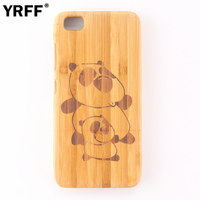 Hand Carving Ship Anchor Panda Cat Cartoon Pattern Bamboo Wooden Phone Case For Xiaomi Mi5 Wood