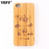 Hand Carving Ship Anchor Panda Cat Cartoon Pattern Bamboo Wooden Phone Case For Xiaomi Mi5 Wood