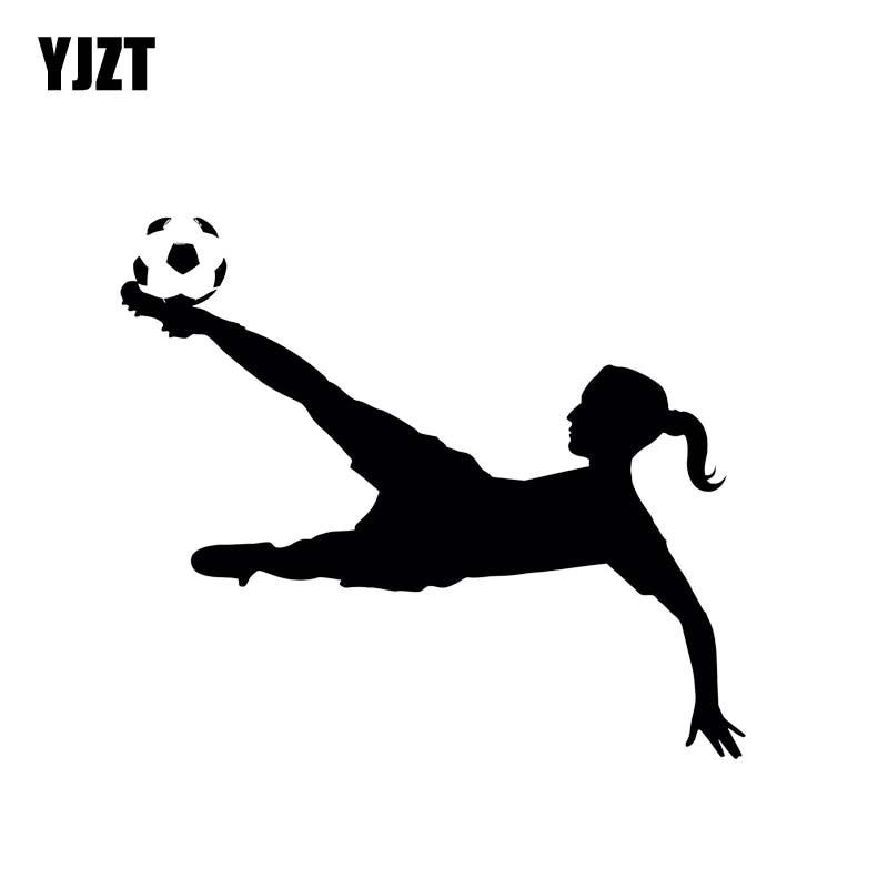 YJZT 14*12,1 см Автомобильная наклейка для игры в футбол Bold Girl с улучшенным дизайном, черная/серебряная виниловая Автомобильная наклейка, популя...