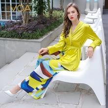 VOA 2017 Autumn Yellow Long Sleeve Sleepwear Two Piece Set Belt Casual Comfort Silk Pajamas Plus Size Women Nightgown NLH00101