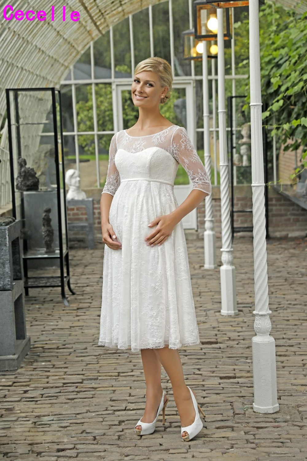 e7ba9728bc5 Detail Feedback Questions about New Lace Empire A line KneeLength Short  Maternity Wedding Dresses 2019 With 3 4 Sleeves Buttons Pregnant Women Wedding  Gowns ...