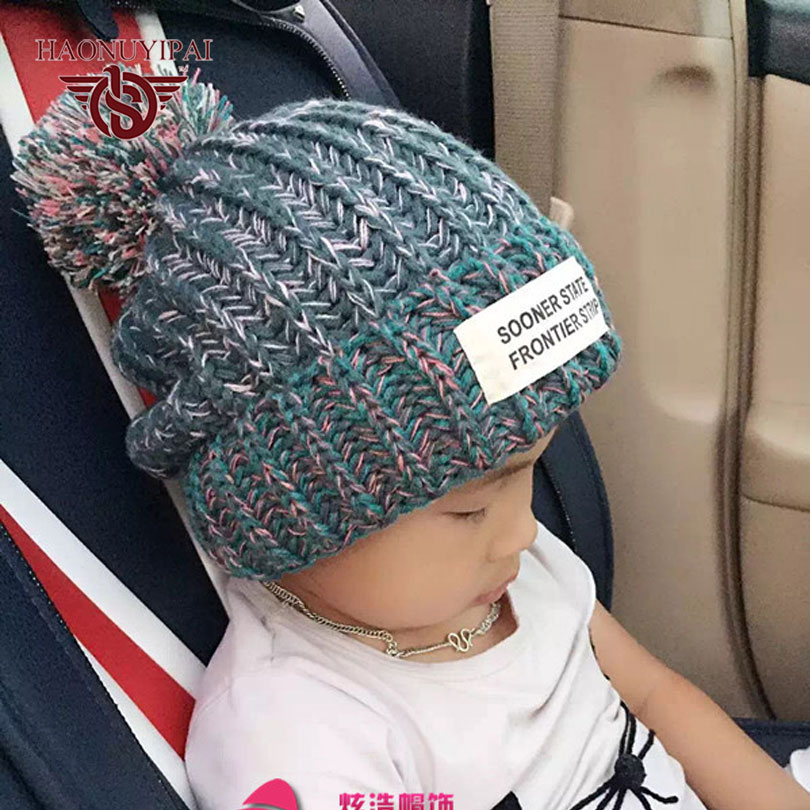 Cute Kids Winter Handmade Knitted Skullies & Beanies Children Casual Outdoor Sports Caps Warm Ear Hat For Boys And Girls  WB004 skullies