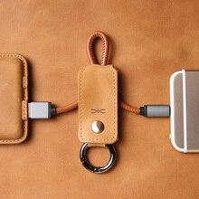 Кожа Двойное Кольцо USB Кабель Синхронизации Данных Зарядное Устройство Для Быстрой Зарядки Шнуров и кабелей для Apple Молнии Micro USB Type-c Мобильного Телефона кабель(China (Mainland))