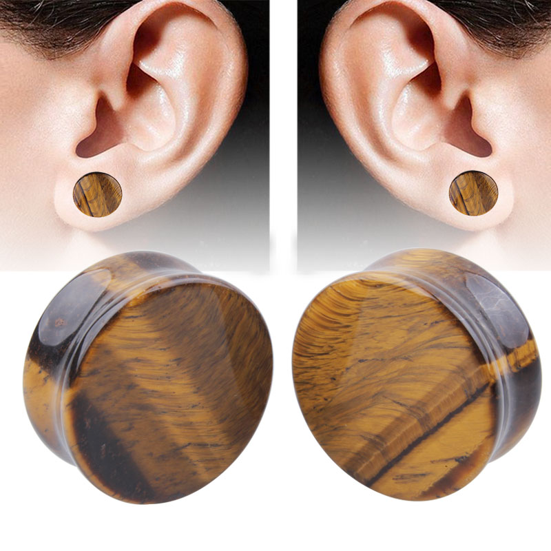 1 Pair Fashion Natural Yellow Tiger Eye Stone Ear Plug Flesh Tunnel Double Flare Gauges Unisex Expander Piercing Body Jewelry
