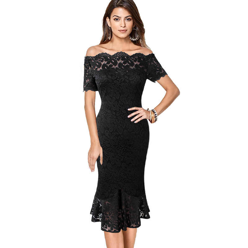 Vfemage Vrouwen Off Shoulder Vintage Bloemen Kant Pinup Formele Cocktail Wedding Party Bodycon Mermaid Potlood Wiggle Midi Jurk 980