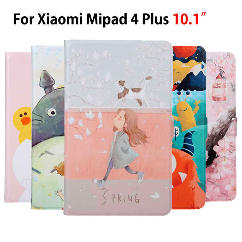 "Slim PU Leather Case Voor Xiao mi mi pad 4 plus mi Pad 4 plus 10.1 ""smart cover funda tablet Geschilderd Smart Skin Shell + Film + Stylus"