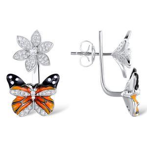Image 3 - Santuzza シルバー蝶のイヤリング 925 純銀製のスタッドのイヤリングシルバー 925 キュービックジルコニア brincos ジュエリーエナメル