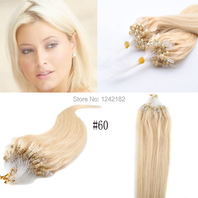 60 Platinum Blonde8 Light Brown Micro Loop Ring Human Hair