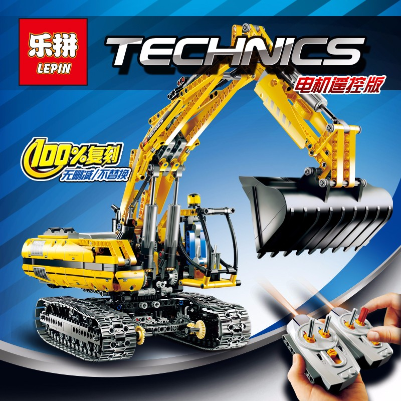 font b LEPIN b font 20007 Technic Remote Control Excavator Model Motor Power Bulldozer Building