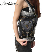 Norbinus Steampunk Leather Men Thigh Drop Leg Bag Punk Rivet Motorcycle Women Messenger Shoulder Crossbody Bag Waist Fanny Pack