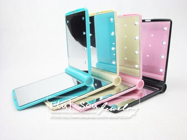 LED mirror,cosmetic mirror, folds the LED vanity mirron, pocket mirror,compact mirror, makeup mirrorFree shipping
