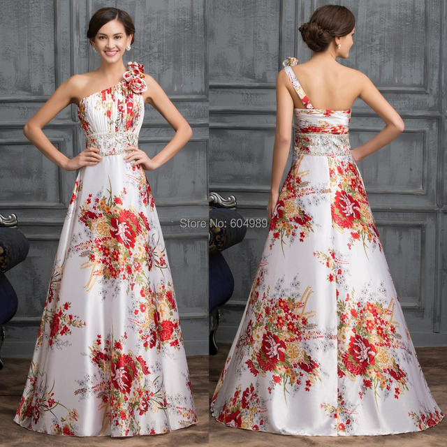 Beaded Formal Evening Gown Dresses One Shoulder Printed Flower ...
