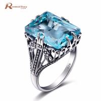 Newest Handmade Sterling Silver 925 Ring Vintage Jewelry Sky Blue Big Stones Crystal Finger Ring Fashion Fine Costume Jewelry