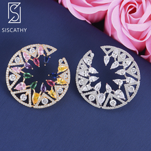 Siscathy 33*33 mm Trendy Geometric Flower Full Micro Cubic Zirconia Paved Stud Earrings fashion jewelry pulseras mujer moda 2019