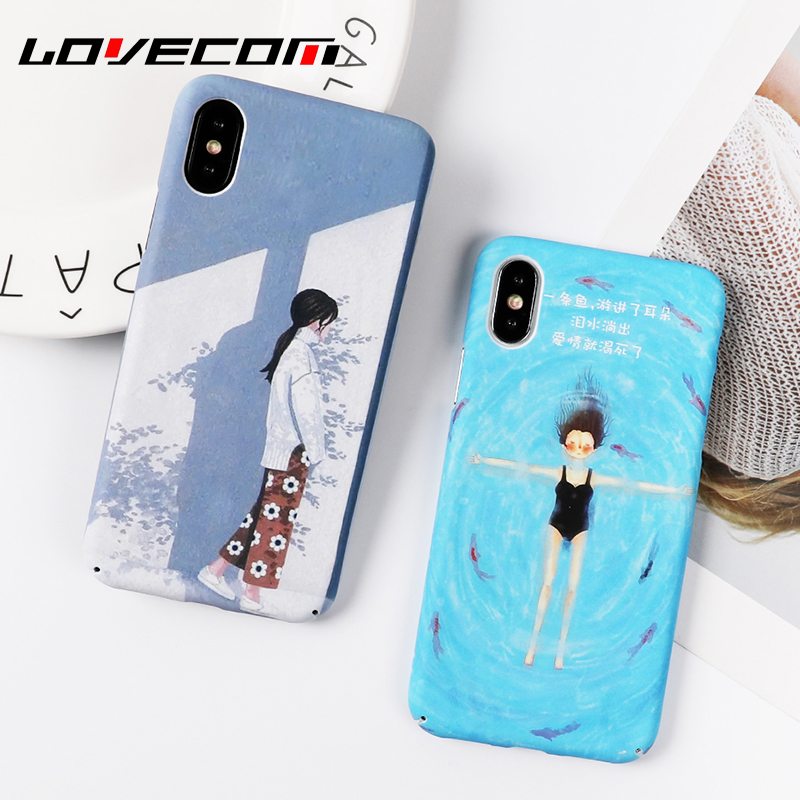 LOVECOM Cool Summer Phone Case For iPhone 6 6S 7 8 Plus X Comics Girl Swimming pool matte Hard PC Back Cover Fundas Coque