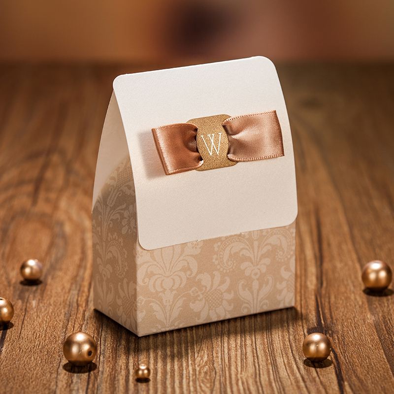 New Romantic European Gilded Champagne Gold Wedding Favour Candy Box