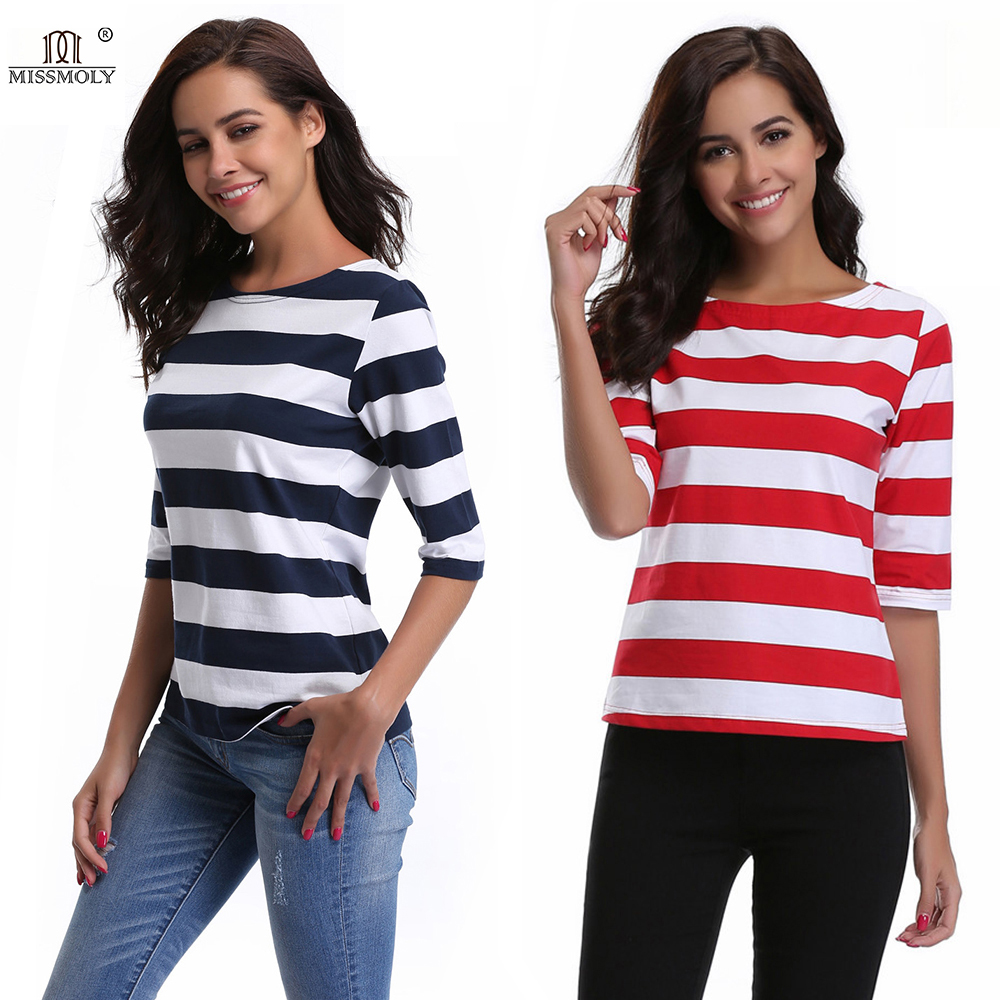 Women O-Neck Cotton Casual Striped t shirt Half Sleeve Knitted kawaii Summer Tops for Girl 2018