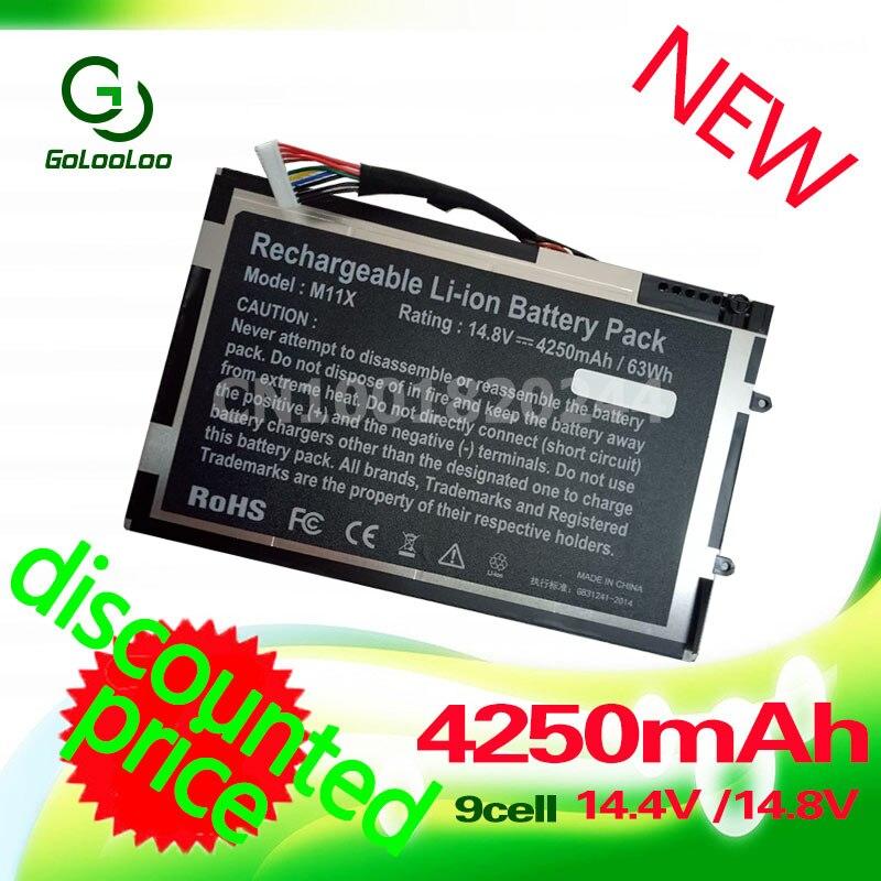 Golooloo 63Wh batterie d'ordinateur portable M11X pour DELL Alienware R1 R2 R3 M14x P06T T7YJ 08P6X6 PT6V8 8P6X6