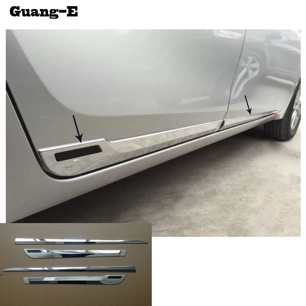 High quality Car ABS chrome Side Door Body trim stick Strip lamp panel Molding 4pcs For Toyota Corolla Altis 2014 2015 2016 abs chrome door body side molding trim cover for nissan x trail x trial xtrail t32 2014 2015 2016 2017 car styling accessories