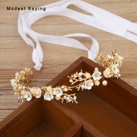 Gold Beaded Flowers Wedding Headbands 2018 Bridal Headwear with Ribbons Bridal Wreath Wedding Accessories for Brides headpiece