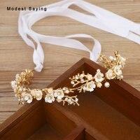 Gold Beaded Flowers Wedding Headbands 2018 Bridal Headwear with Ribbons Bridal Wreath Wedding Accessories for Brides headpiece