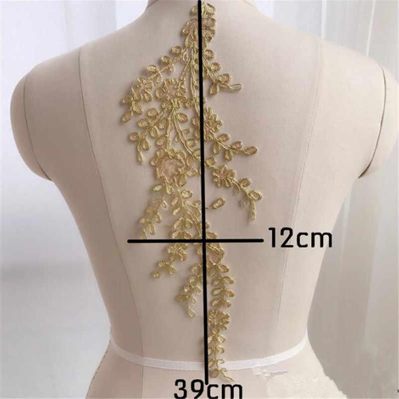 1 12X39cm Vàng Ngà Ren Táo Viền Cổ Cổ Appliques Đầm Ren Viền Vải Vải May Miếng Dán Cường Lực TỰ LÀM Thủ Công