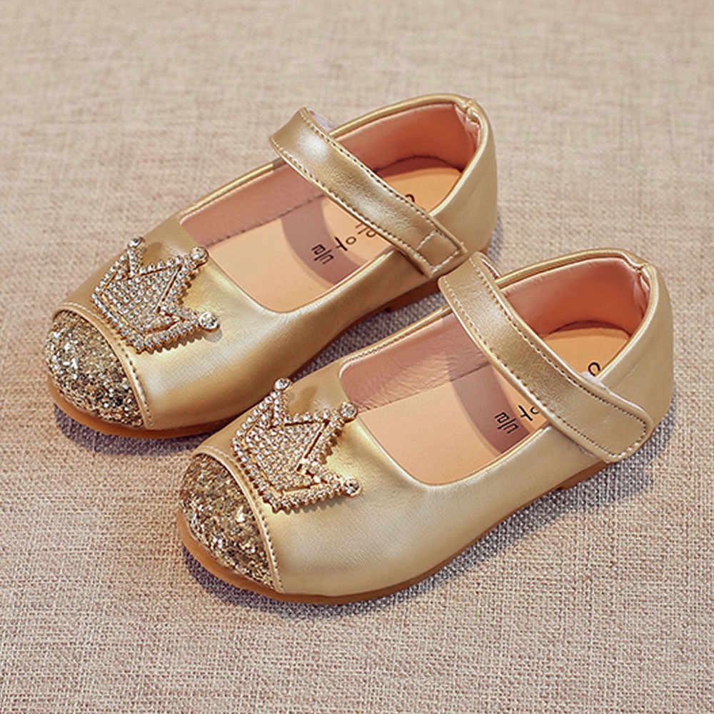 Năm 2019 Cô Gái Thời Trang Tập Đi Trẻ Em Bé Gái Bling Vương Miện Công Chúa Giày Sandal Mùa Xuân Giày Đơn Viền Pha Lê Giày Kids