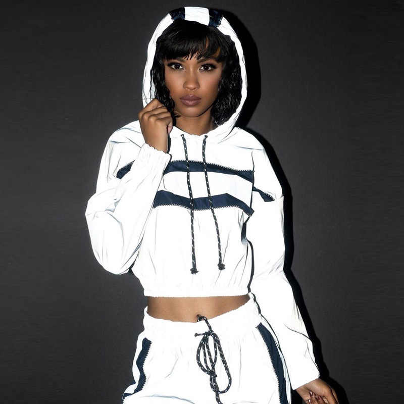 d2ad4603fc4a XUANSHOW Reflective Tracksuit Fashion Women Crop Tops Hoodies + Long Pants  2 Piece Set Stripe Jogger