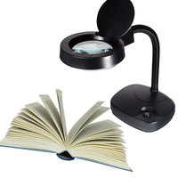 Folding Flexible Magnifier Magnifying Glass LED Reading Desk Lamp EU Plug