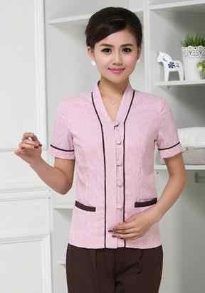 (10 مجموعة-قميص وبانت) PA القطن و الكتان العمل ارتداء تنفس الصيف الإناث تنظيف زي قميص قصير و طويل بانت