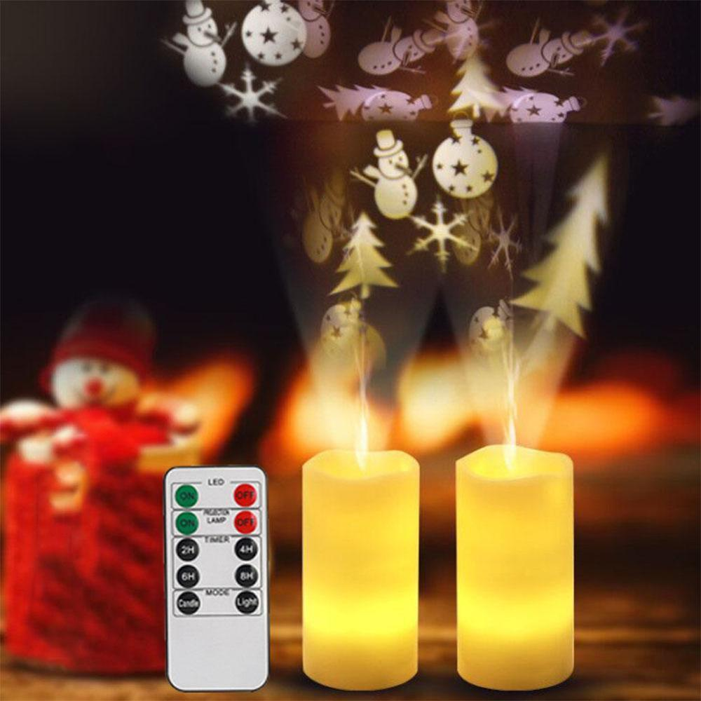 LED Candle Shape Rotation Projection Lamp with Remote Control Romantic Love Snowflake Christmas Pattern Projector