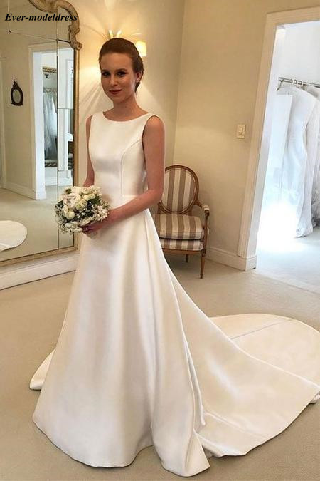 Robe De Mariee Satin Simple Wedding Dress Sexy Backless O-Neck Sweep Train Big Bow A-Line Bridal Gowns Vestido De Noiva 2019