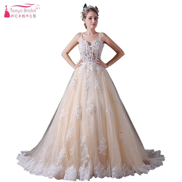 A Line Sweetheart Lace Appliques Illusion Champagne Wedding Dresses ...