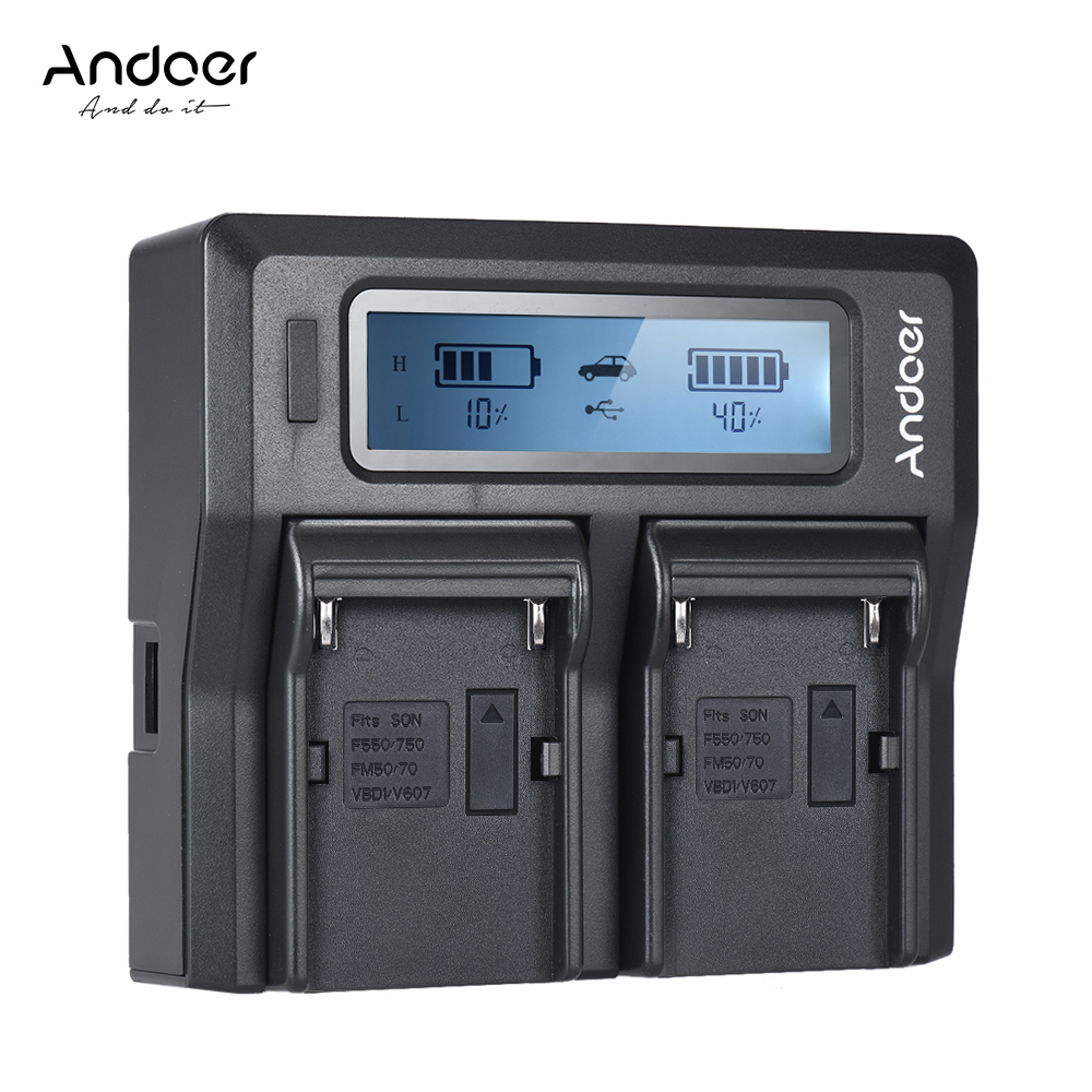 Andoer NP-F970 Dual Channel Digital Camera Battery Charger W/ LCD Display For Sony NP-F550/F750/F950/ NP-FM50/FM500H/QM71
