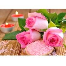 Diy 5D Diamant Malerei Kreuzstich Rosa Blumen Diamant Mosaik Stieg Stickerei Diamant Handwerk Dekoration Für Schlafzimmer 48×35 cm