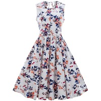 Zmvkgsoa 4xl vintage dresses 2018 new summer print floral 1950s style elegant patchwork sleeveless plus size party dress Y2128