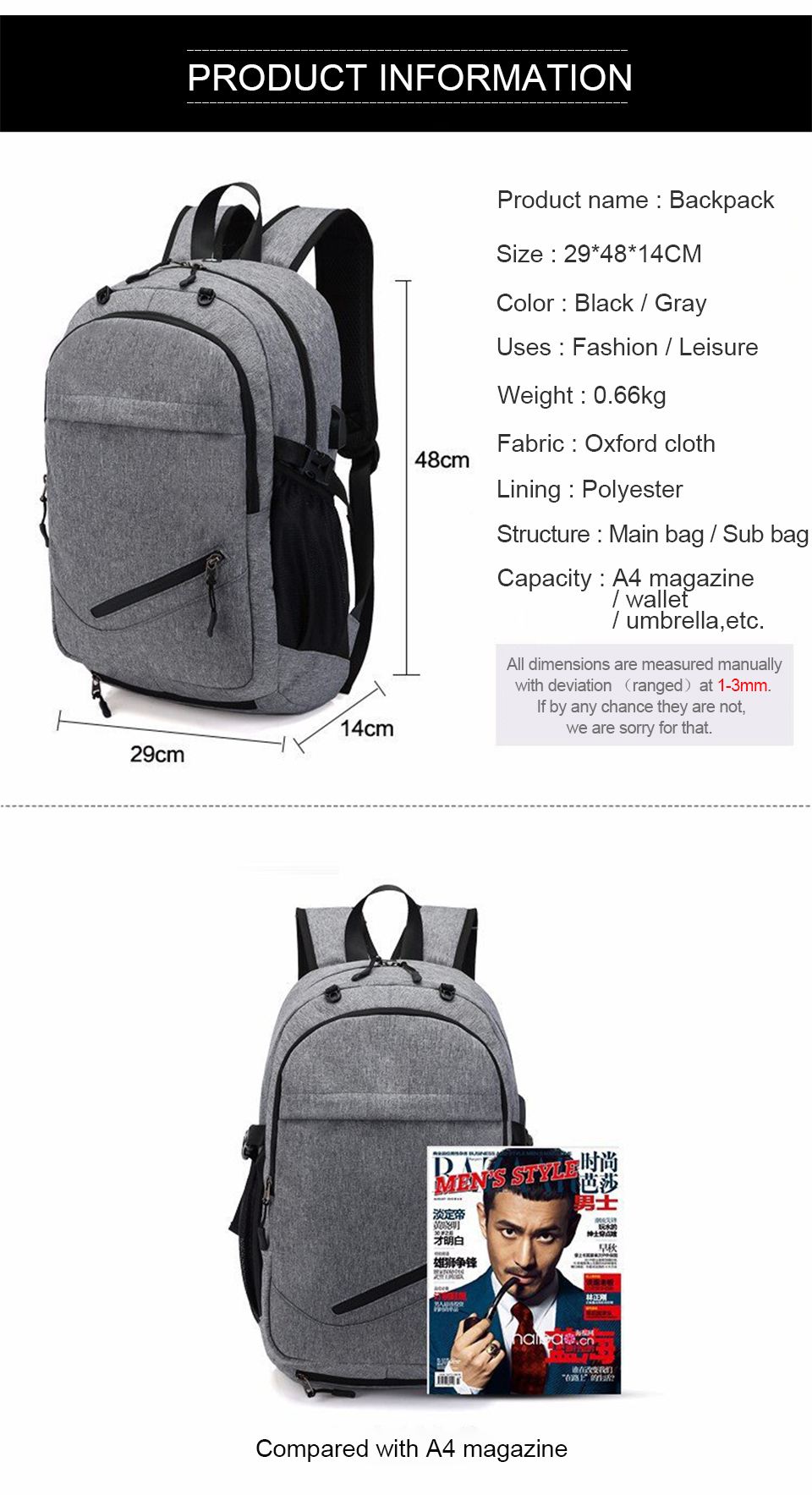 Travel Backpack Student Backpacks Laptop Notebook Back Pack Men Male Waterproof Bagpack USB Charging School Bags For Teenagers (9)