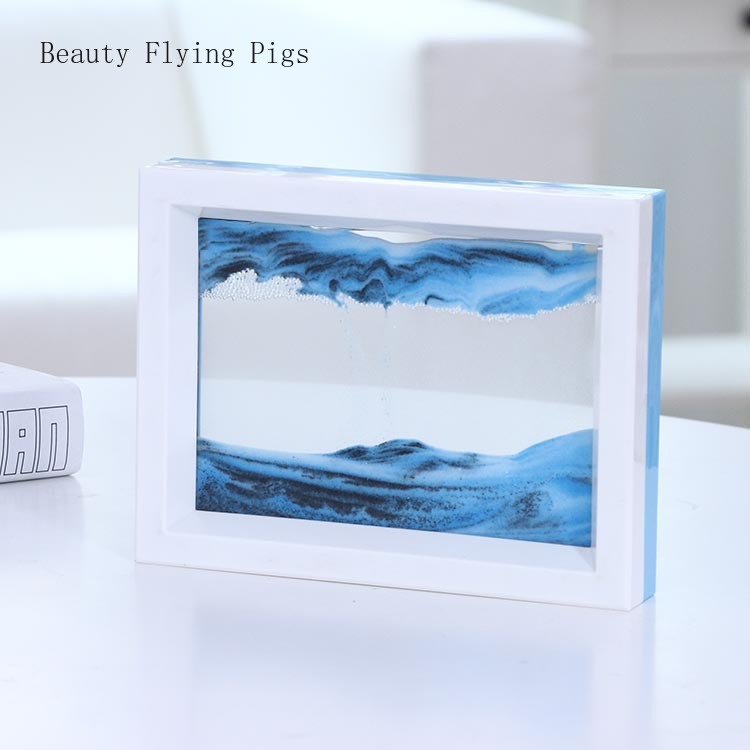 a Creative gifts glass handicraft Micro dynamic art landscape furnishing articles hourglass quicksand painting decoration(China)