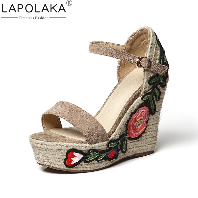 LAPOLAKA 2018 Summer Brand High Quality Natural Suede Women Sandals Thick Platform High Wedges Heels Embroider Women Shoes lapolaka 2018 brand new horsehair woman elegant wedges high heel women shoes platform black summer sandals women
