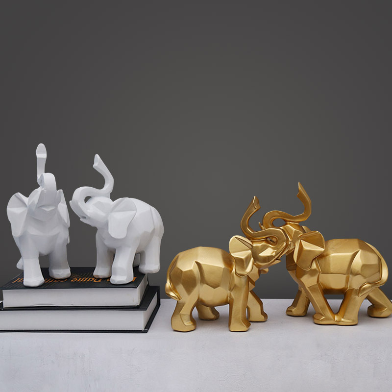 2Pcs/Set Modern Abstract Elephant Statue Sculpture Resin Home Decoration Accessories Gift Geometric Resin Elephant Sculpture